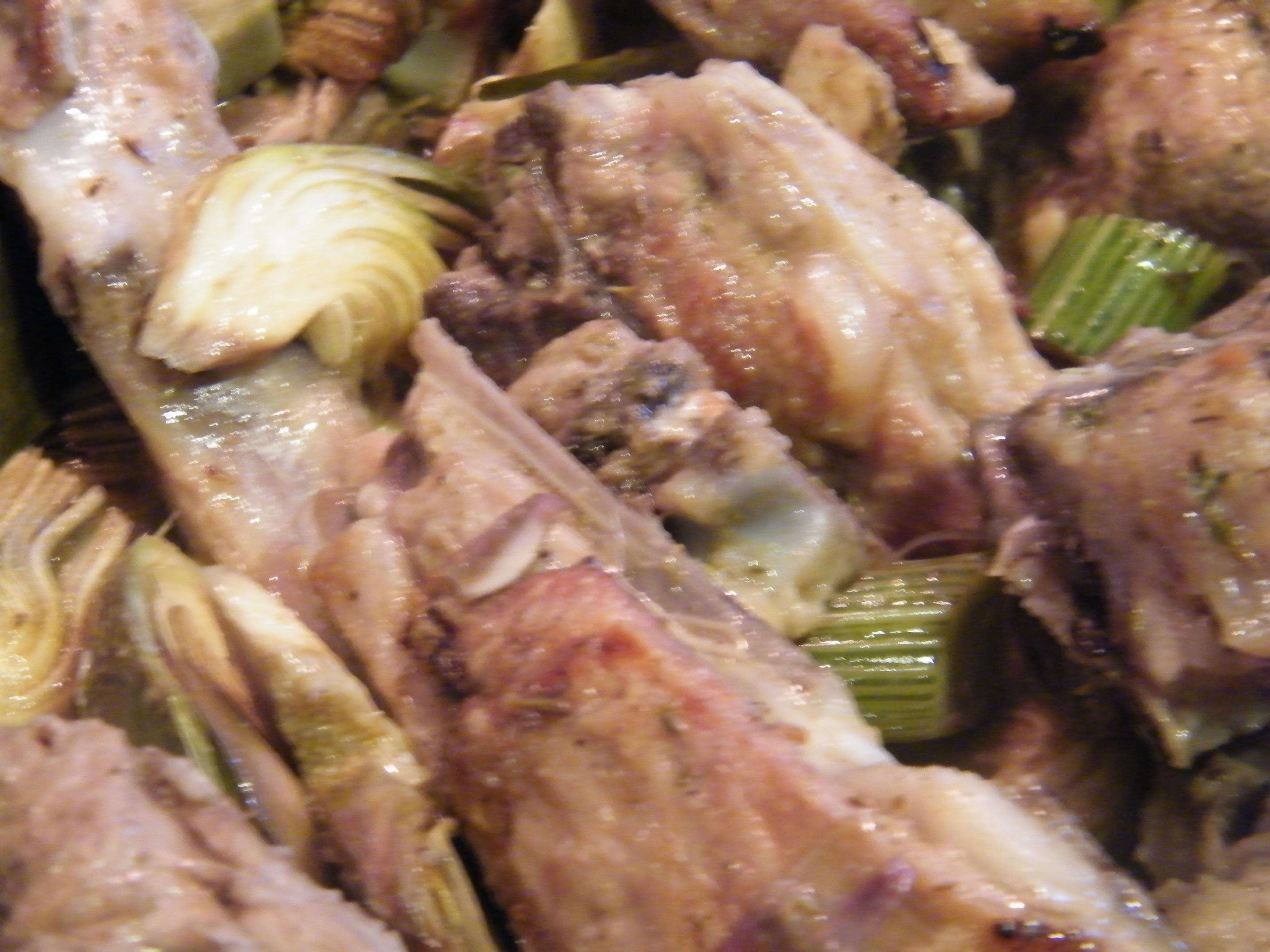 agnello e carciofi in salsa di acciughe zoom cottura